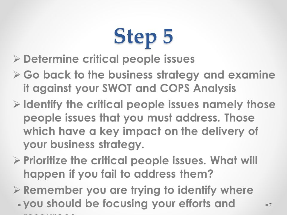 Step 5 Determine critical people issues