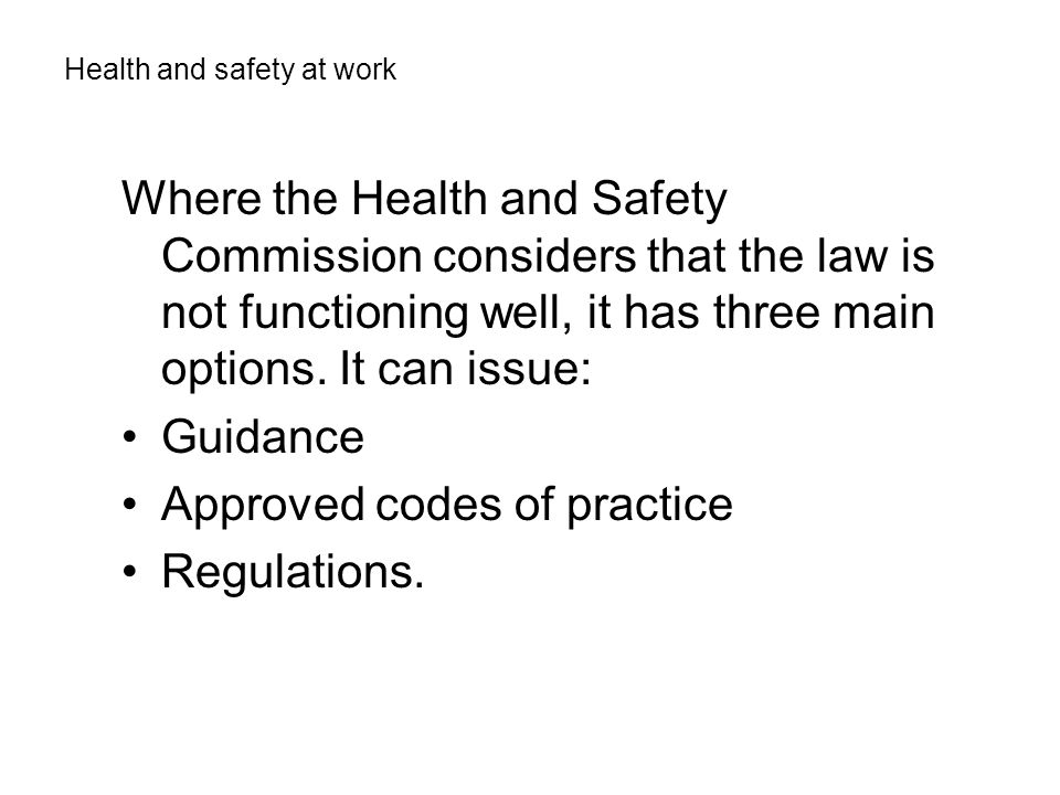 Approved codes of practice Regulations.