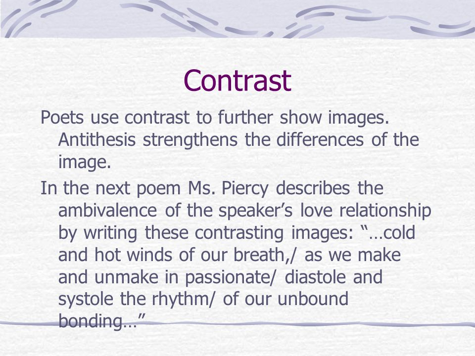 definition of contrast in poetry