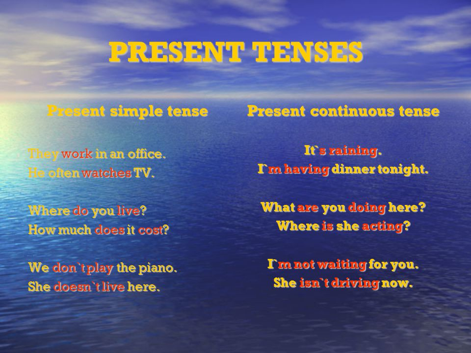 Present continuous tense I`m having dinner tonight.