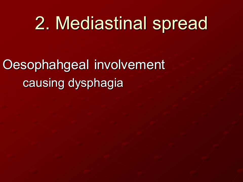2. Mediastinal spread Oesophahgeal involvement causing dysphagia