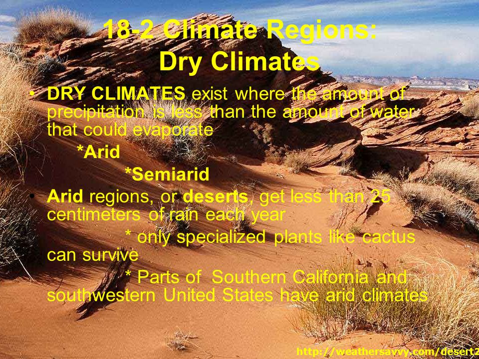 18-2 Climate Regions: Dry Climates
