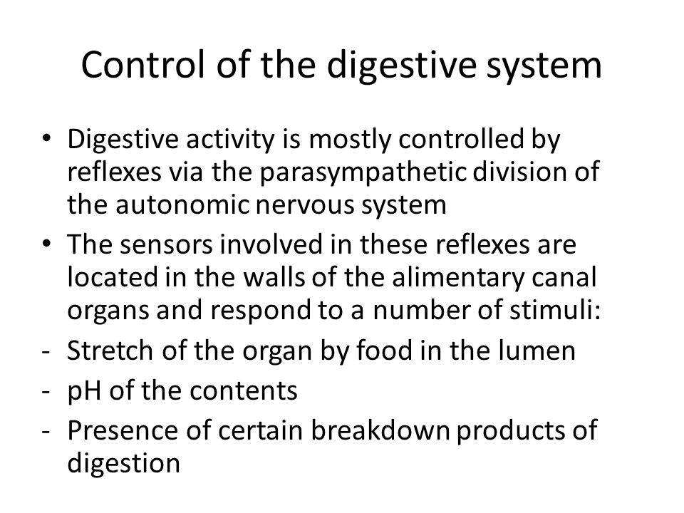 Control of the digestive system