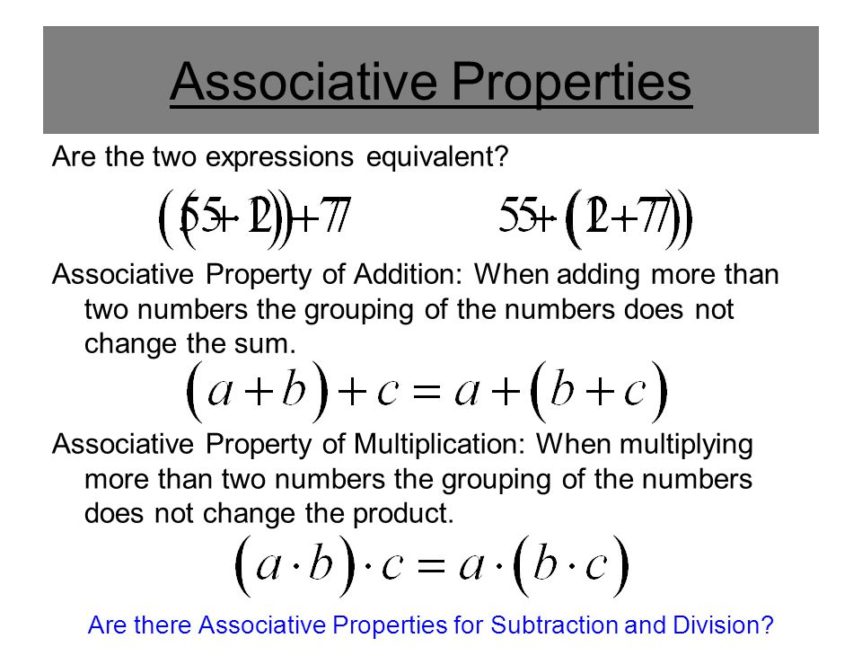 Associative Properties