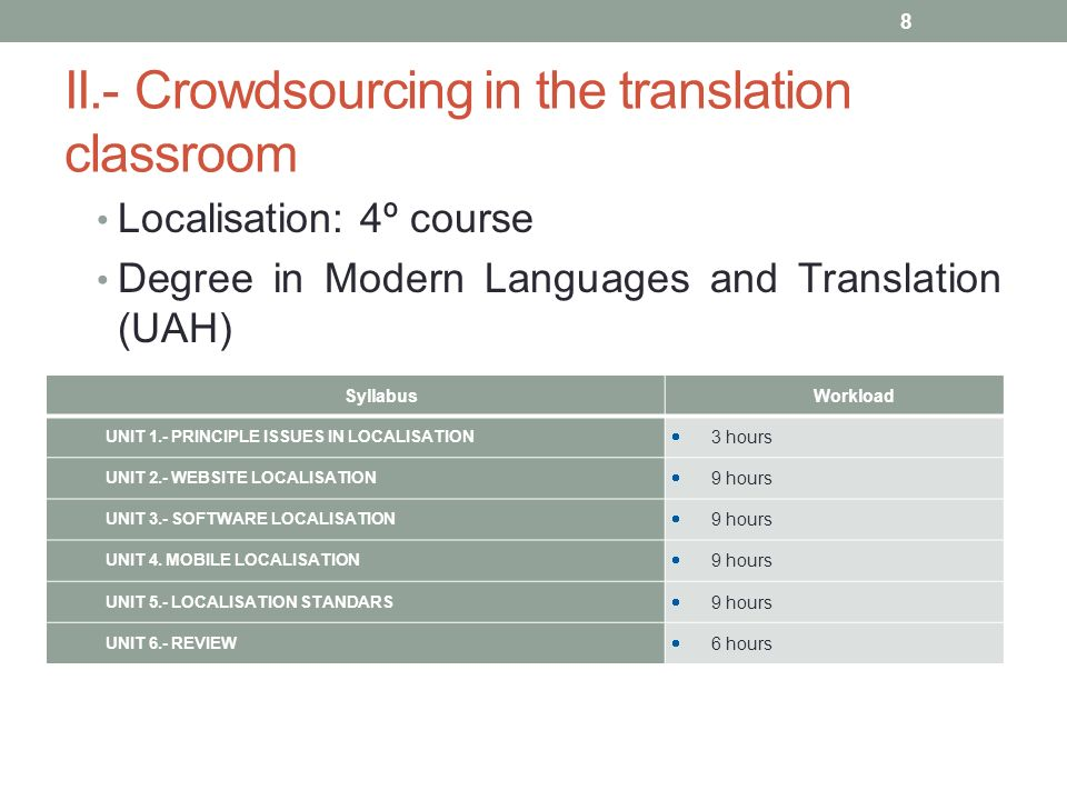 II.- Crowdsourcing in the translation classroom