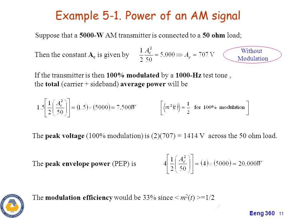 Example 5-1. Power of an AM signal