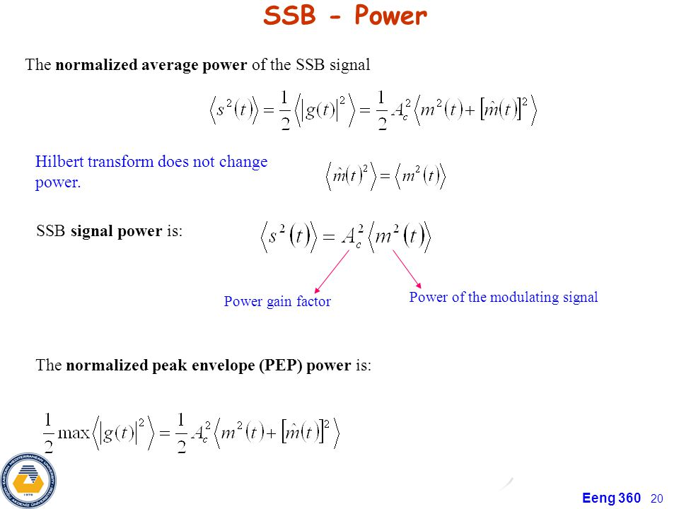 SSB - Power The normalized average power of the SSB signal