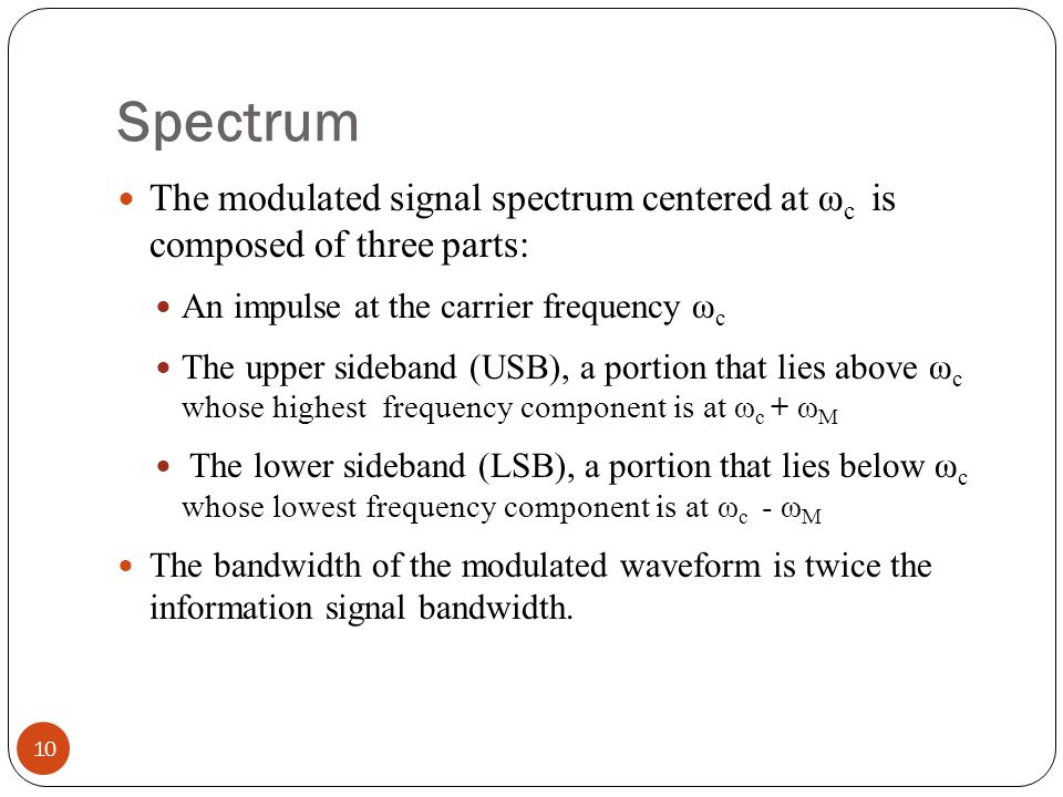 Spectrum The modulated signal spectrum centered at ωc is composed of three parts: An impulse at the carrier frequency ωc.
