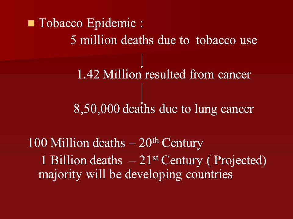 5 million deaths due to tobacco use 1.42 Million resulted from cancer