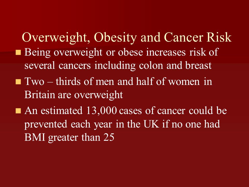 Overweight, Obesity and Cancer Risk
