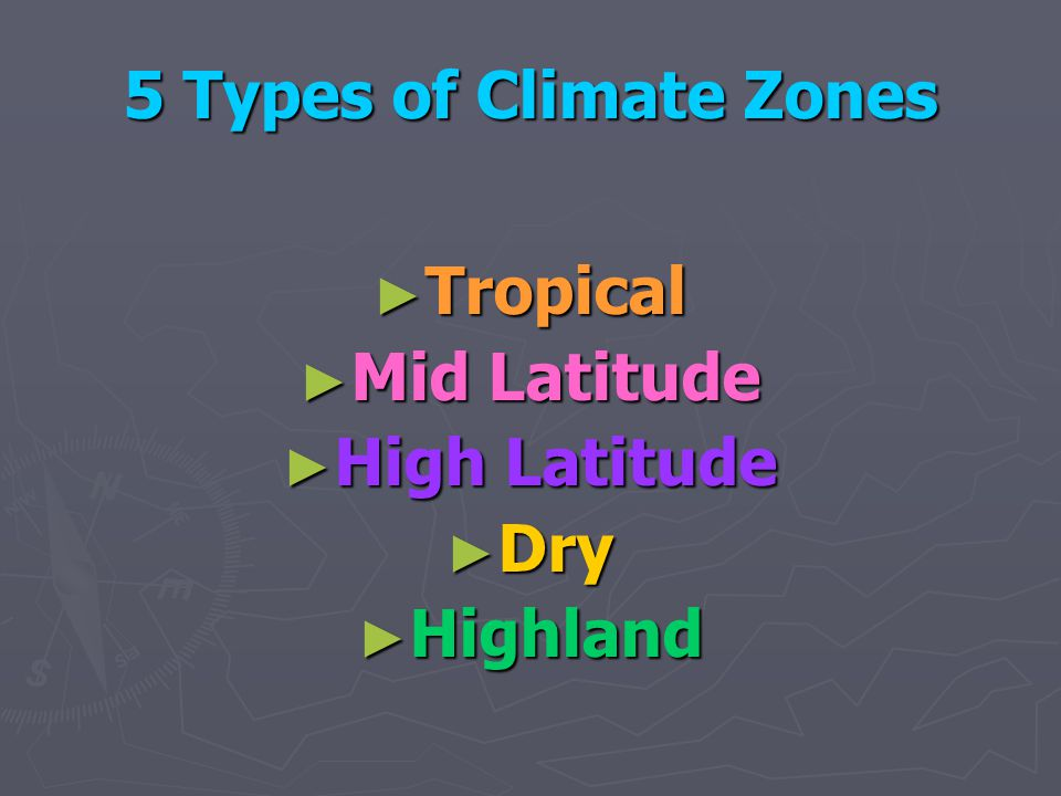 5 Types of Climate Zones Tropical Mid Latitude High Latitude Dry Highland