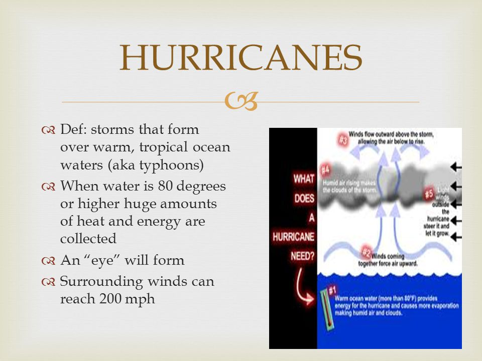 HURRICANES Def: storms that form over warm, tropical ocean waters (aka typhoons)