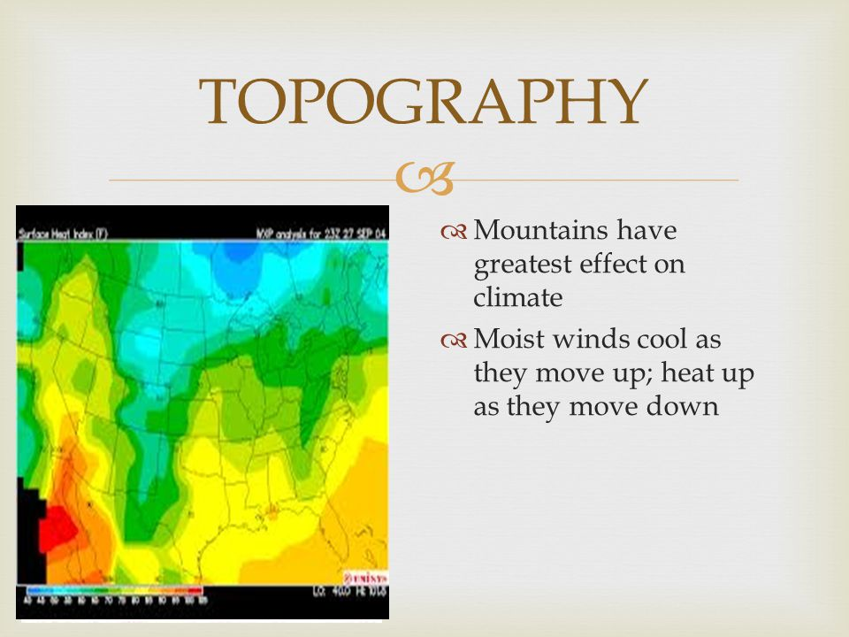 TOPOGRAPHY Mountains have greatest effect on climate