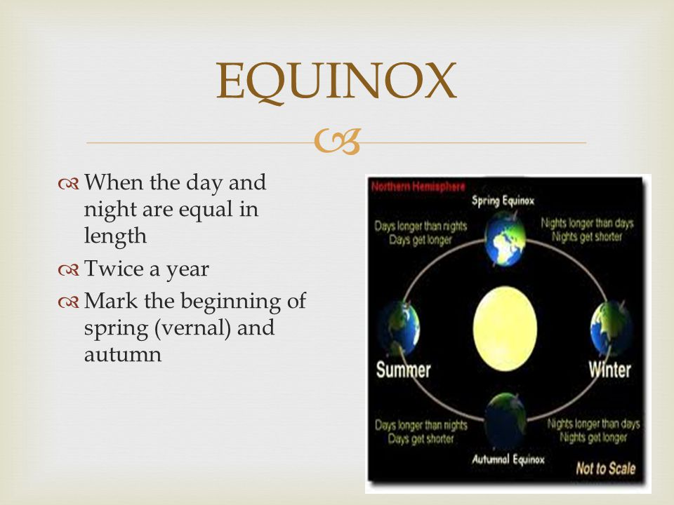 EQUINOX When the day and night are equal in length Twice a year
