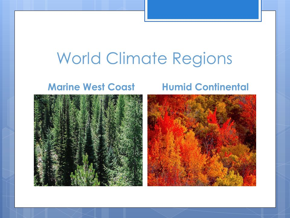 World Climate Regions Marine West Coast Humid Continental