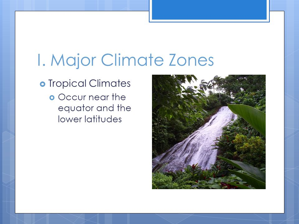 I. Major Climate Zones Tropical Climates