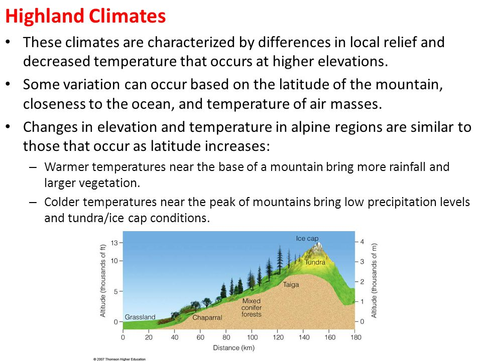 Highland Climates These climates are characterized by differences in local relief and decreased temperature that occurs at higher elevations.