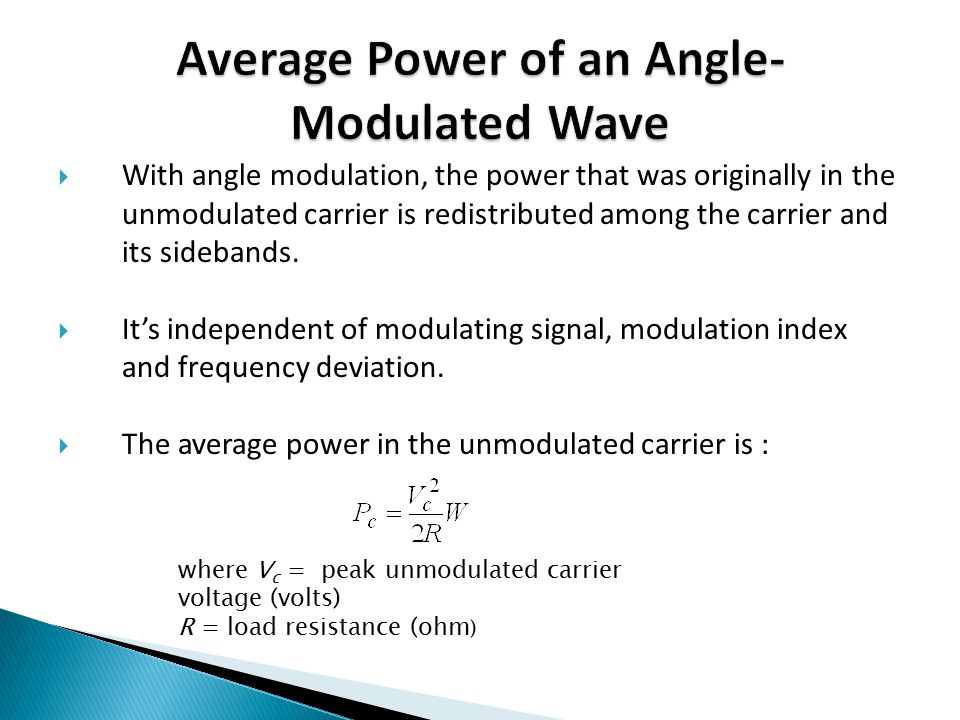Average Power of an Angle-Modulated Wave