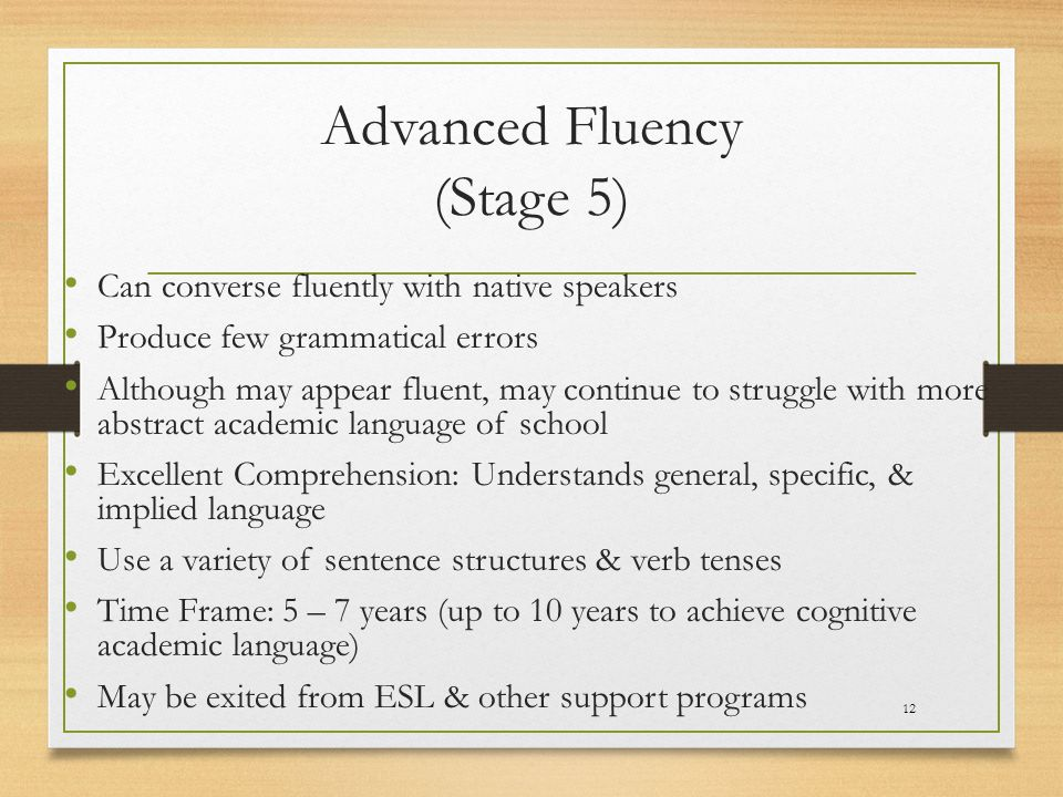 Advanced Fluency (Stage 5)