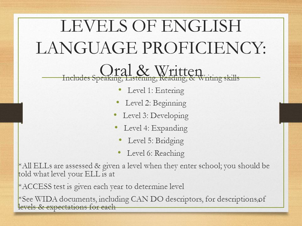 LEVELS OF ENGLISH LANGUAGE PROFICIENCY: Oral & Written