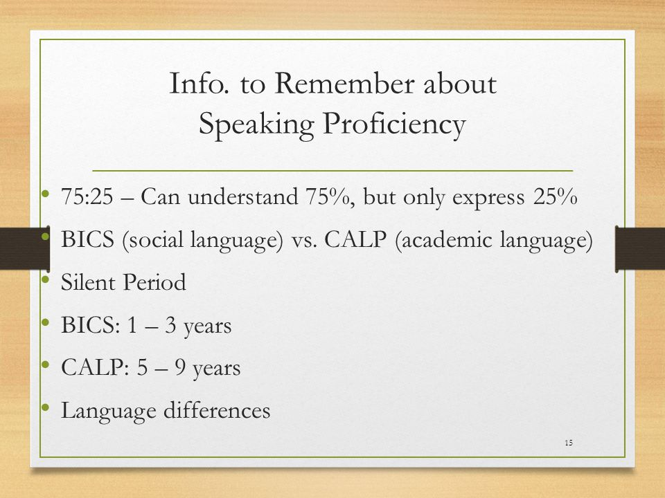 Info. to Remember about Speaking Proficiency