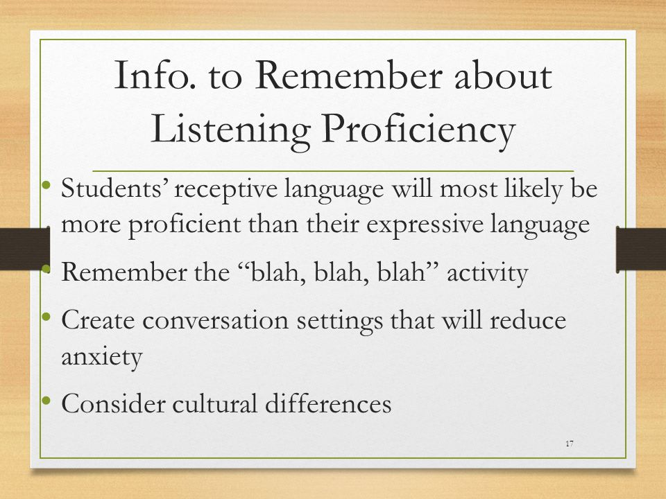 Info. to Remember about Listening Proficiency