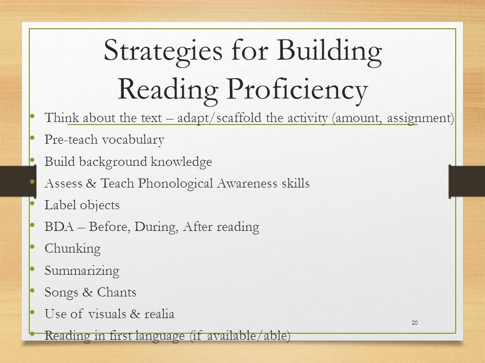 Strategies for Building Reading Proficiency