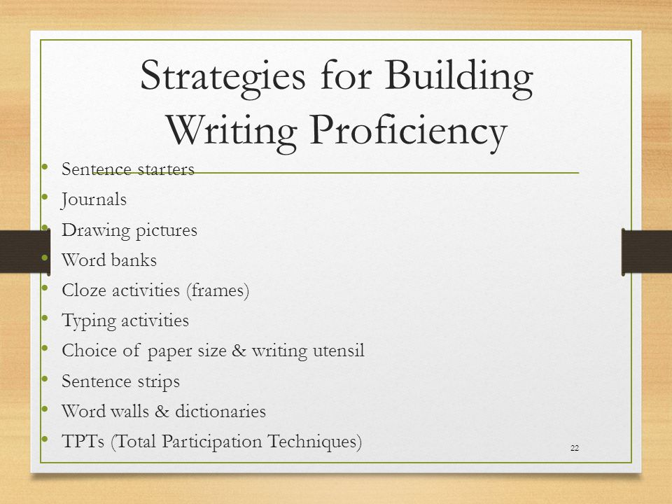 Strategies for Building Writing Proficiency