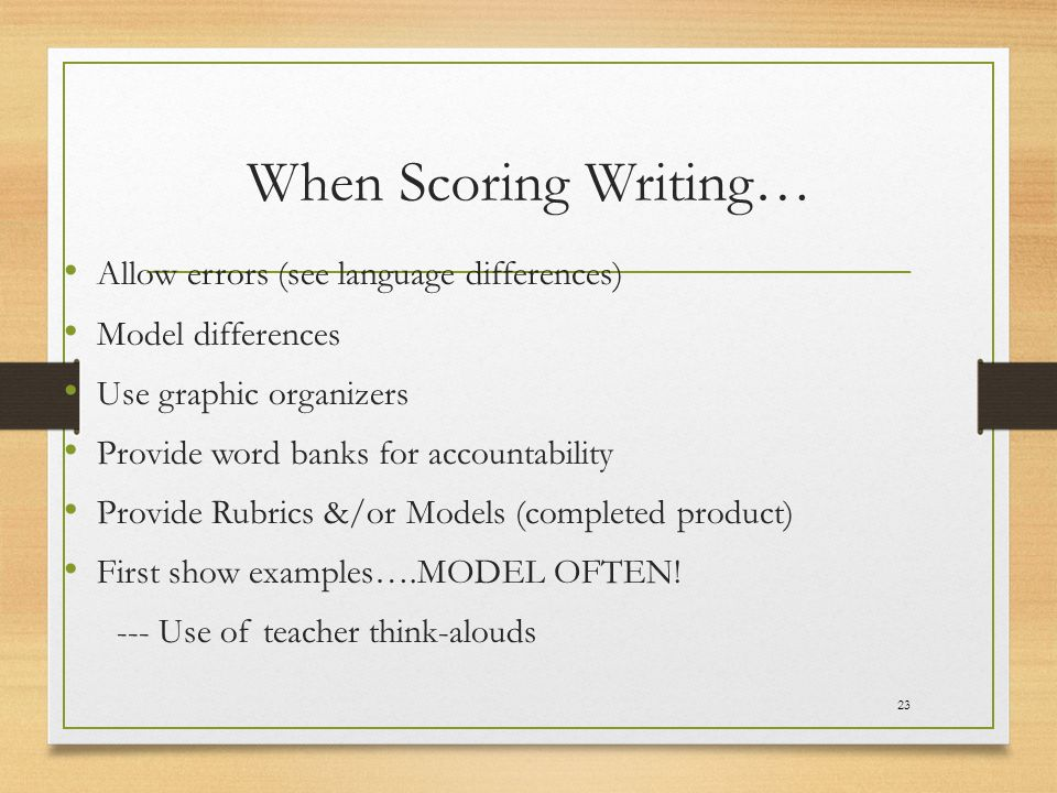 When Scoring Writing… Allow errors (see language differences)