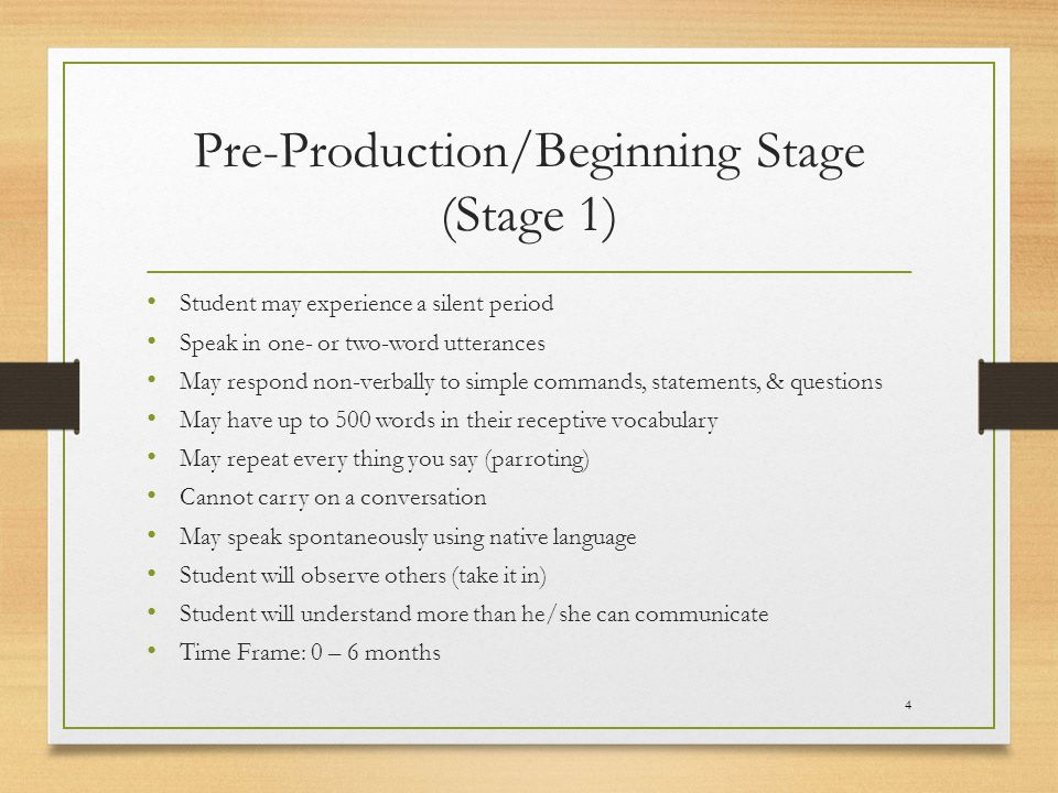 Pre-Production/Beginning Stage (Stage 1)