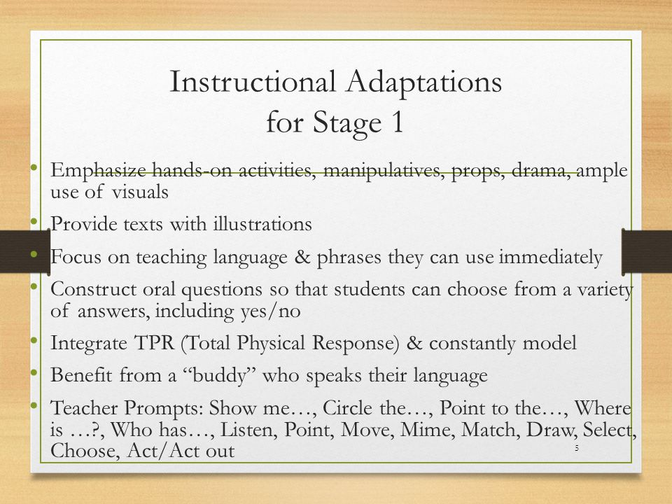 Instructional Adaptations for Stage 1