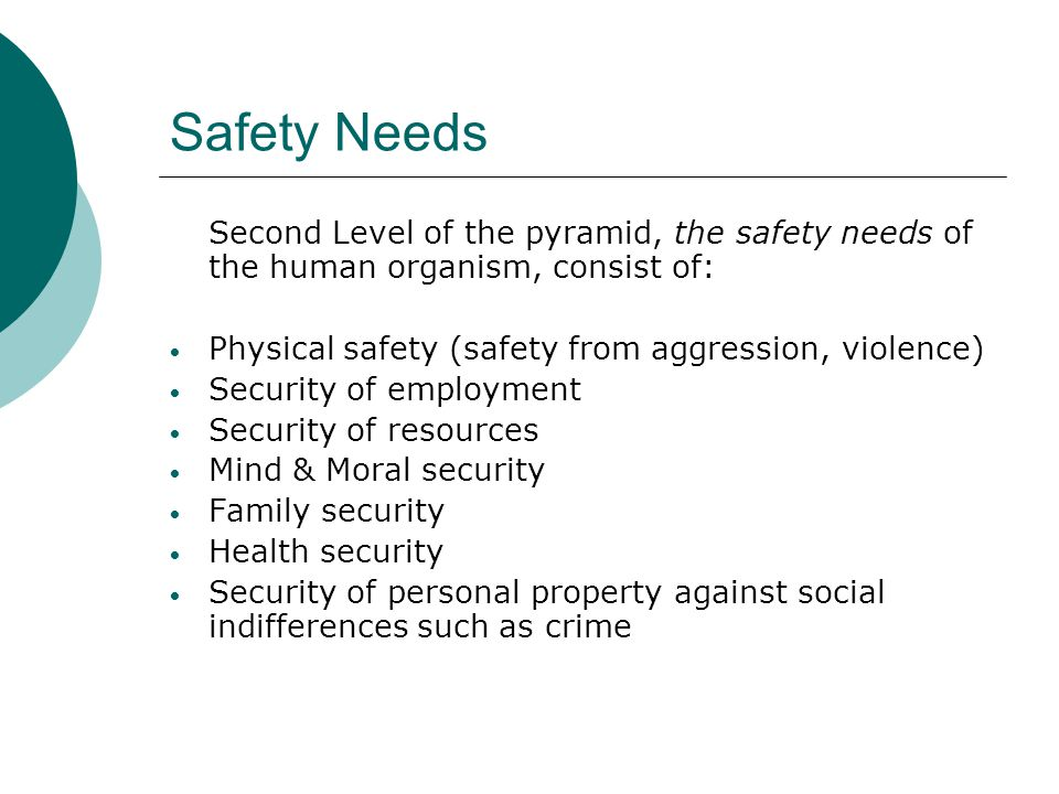 Safety Needs Second Level of the pyramid, the safety needs of the human organism, consist of: Physical safety (safety from aggression, violence)
