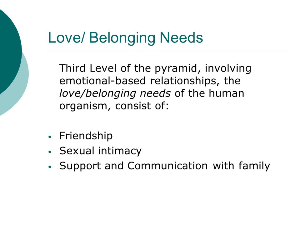 Love/ Belonging Needs