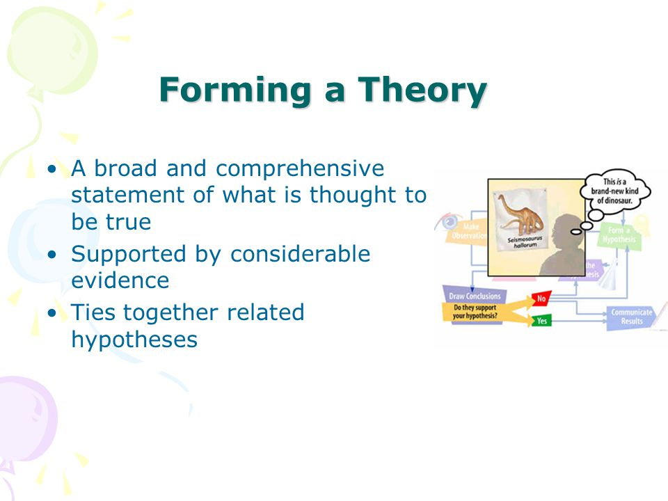 Forming a Theory A broad and comprehensive statement of what is thought to be true. Supported by considerable evidence.