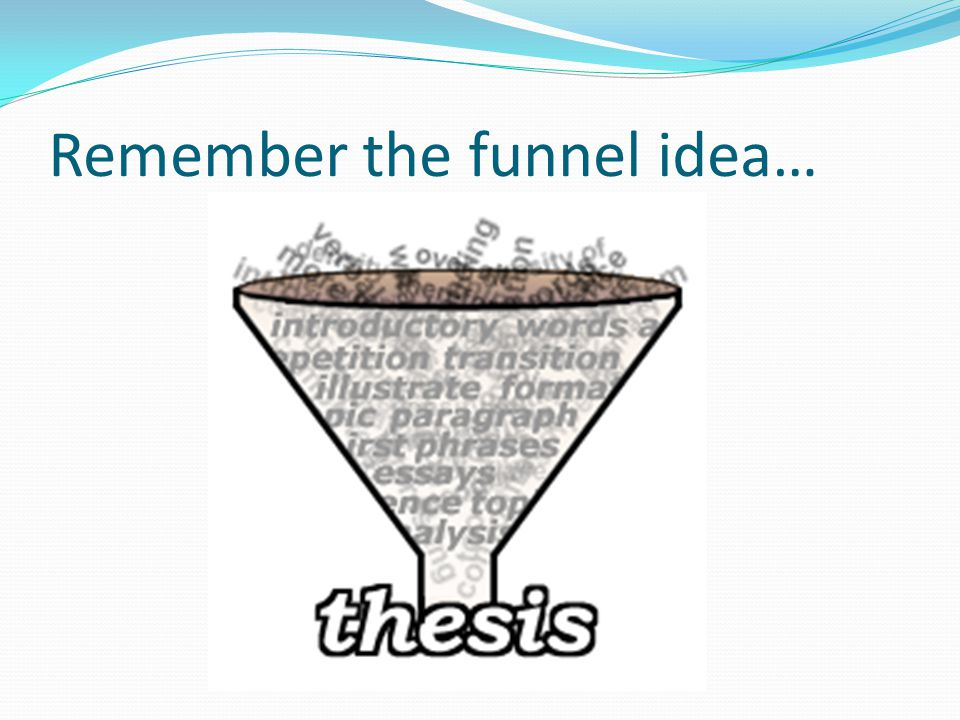 Remember the funnel idea…
