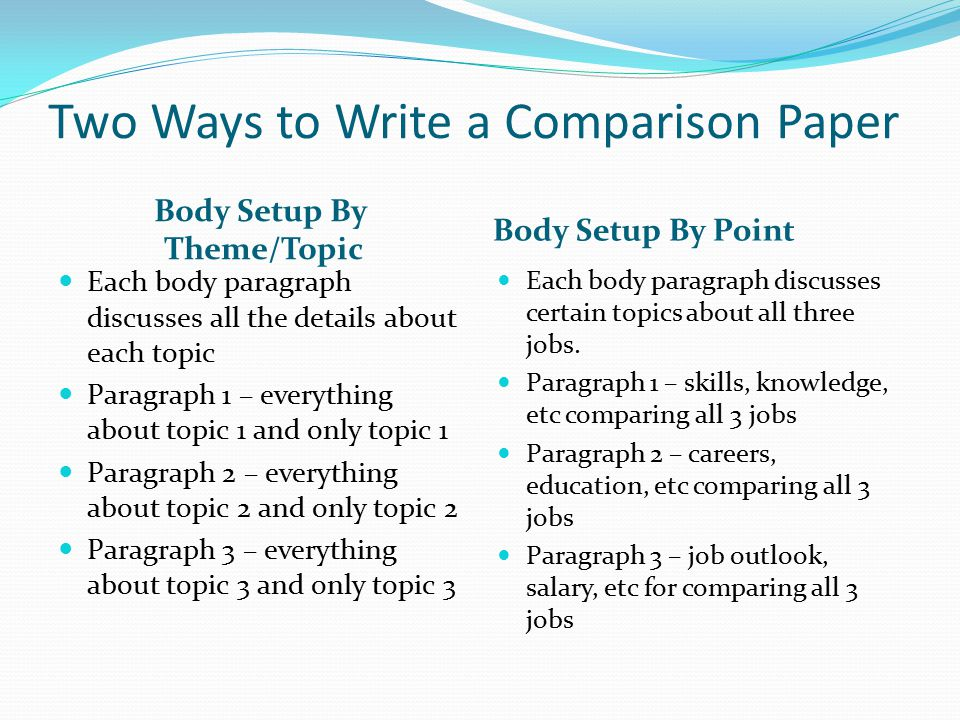 Two Ways to Write a Comparison Paper
