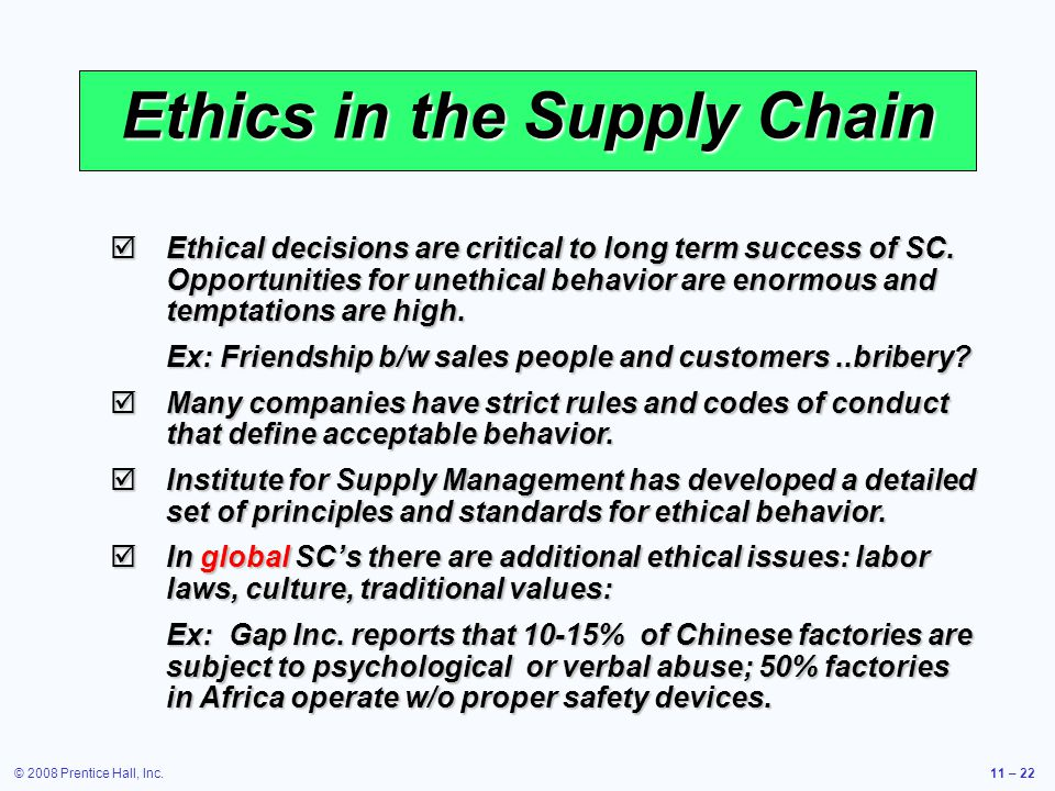 ethical supply chain issues
