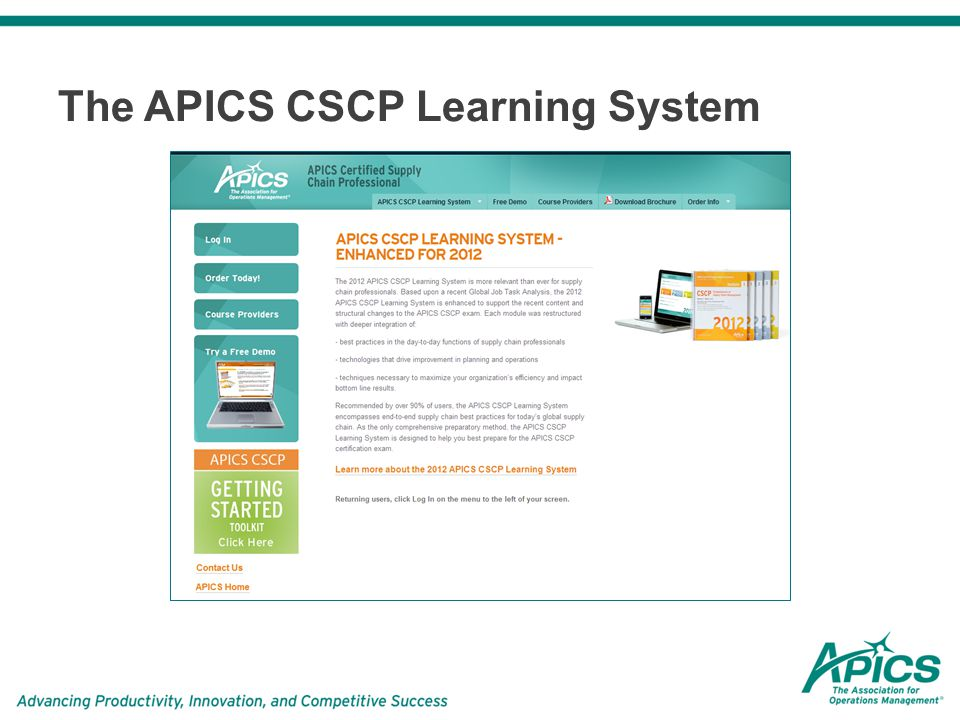 Apics cscp certified supply chain professional learning system.