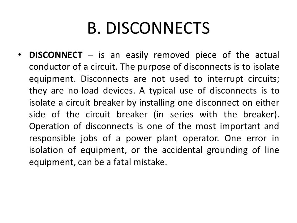 B. DISCONNECTS