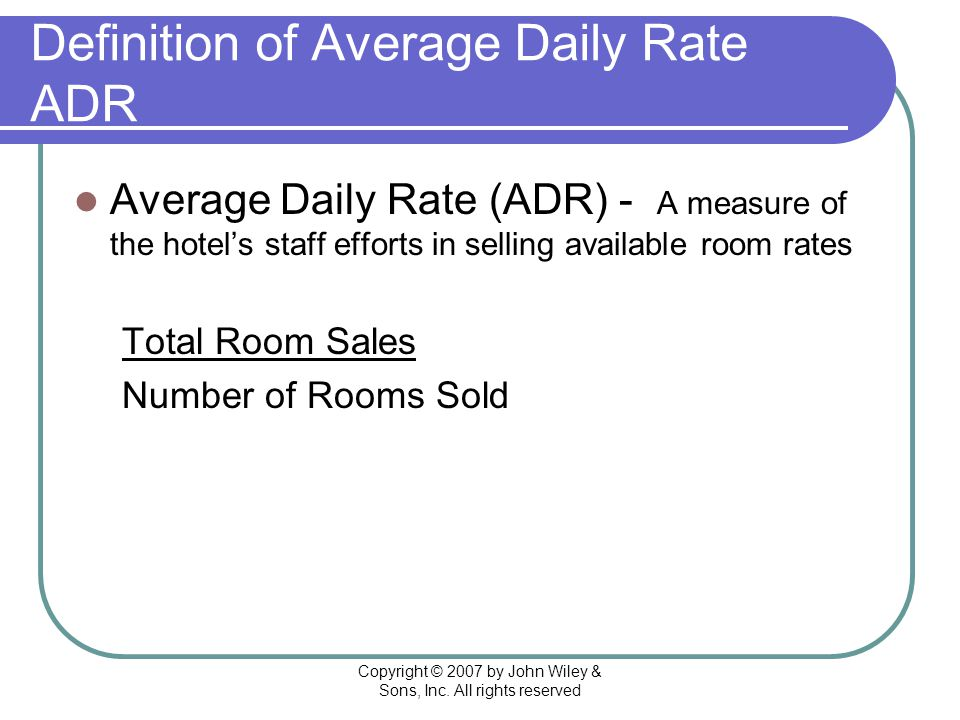 Adr Average Daily Room Rate