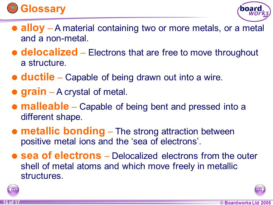 Glossary  alloy – A material containing two or more metals, or a metal and a non-metal.