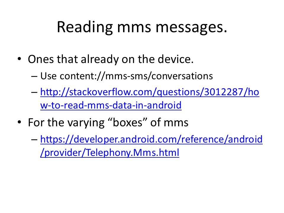 Cosc 5/4730 Android SMS and MMS  - ppt video online download