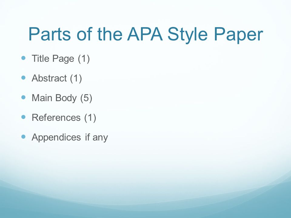 parts of the apa style paper
