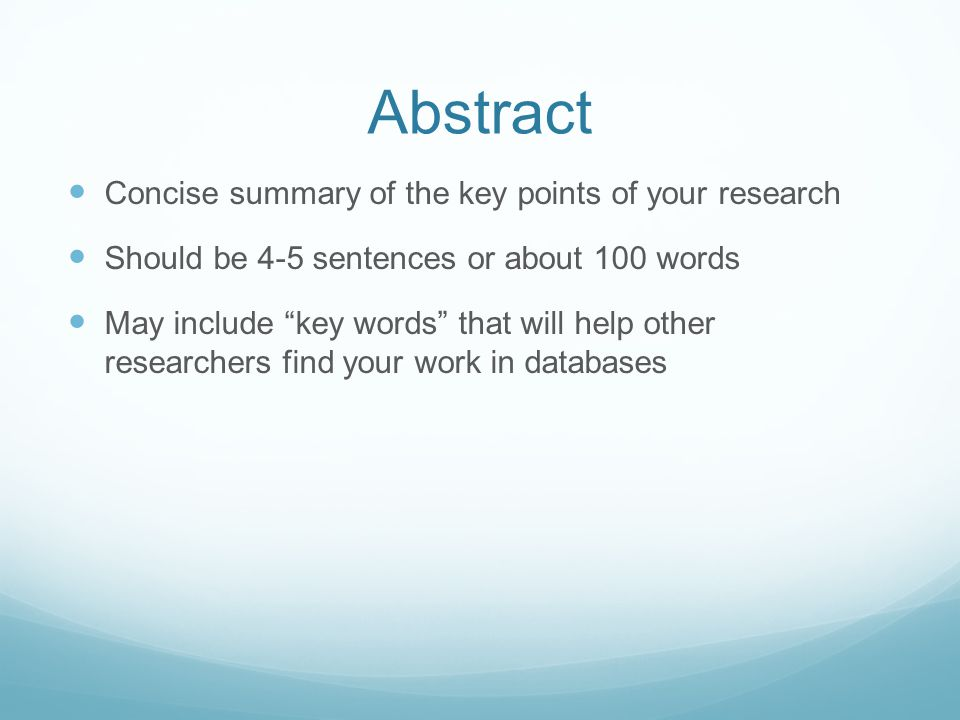 Abstract Concise summary of the key points of your research