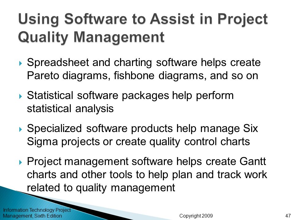Chapter 8 project quality management ppt video online download using software to assist in project quality management ccuart Images