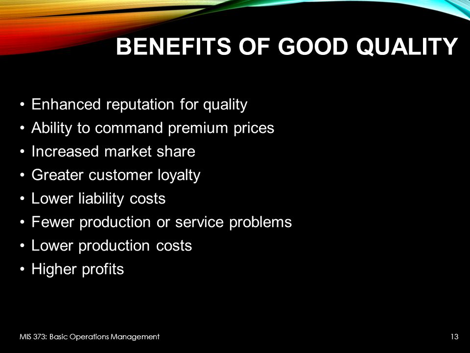 benefits of good production management