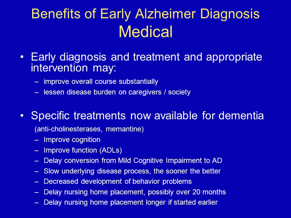Benefits of Early Alzheimer Diagnosis Medical