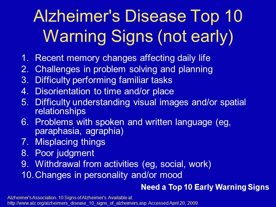 Alzheimer s Disease Top 10 Warning Signs (not early)