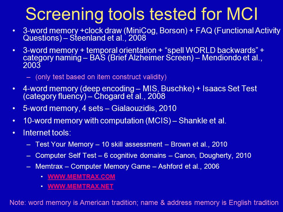 Screening tools tested for MCI