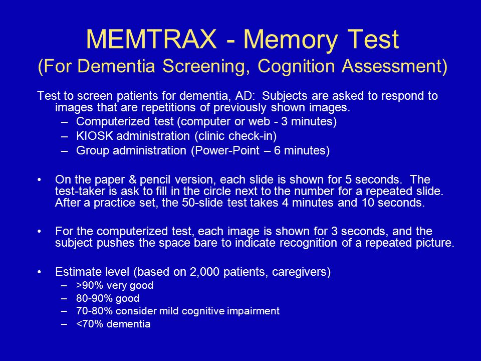 MEMTRAX - Memory Test (For Dementia Screening, Cognition Assessment)